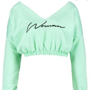 Milly Woman Slogan Rouched Sweat Crop Sweater